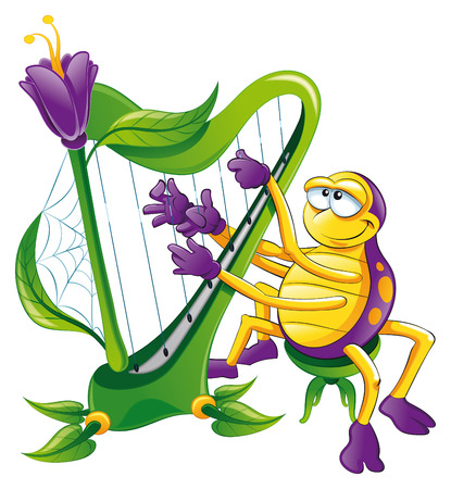 strum: Spider with harp, cartoon and vector character