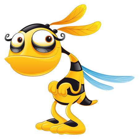 abeja: Funny Bee, dibujos animados y vector de caracteres Vectores