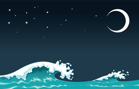 Wave in the night, cartoon and vector illustration Vector Illustration