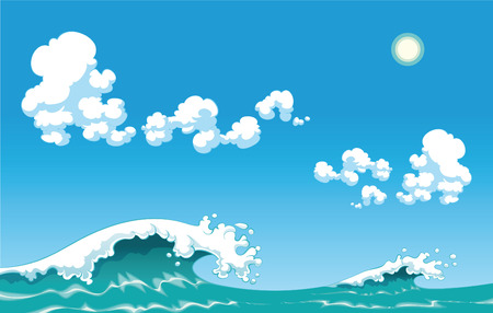 Summer wave, cartoon and vector illustration