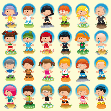 People with background, cartoon and vector characters Vector