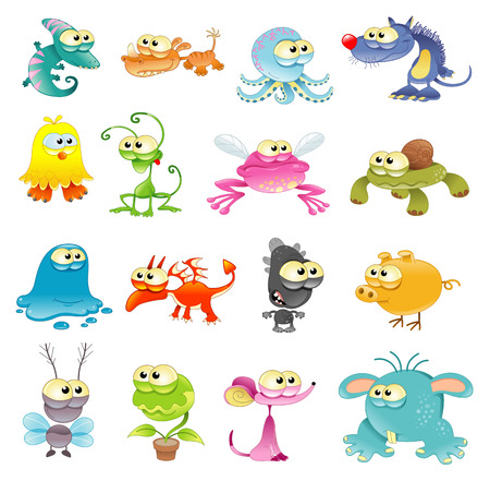 Family of monster, cartoon and vector characters Vector