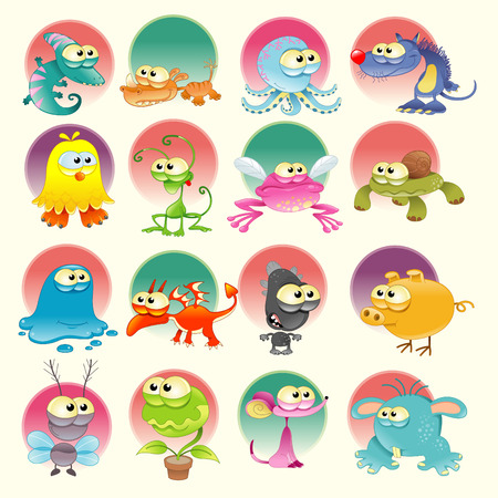 Family of monsters with backrounds, cartoon and vector characters Vector