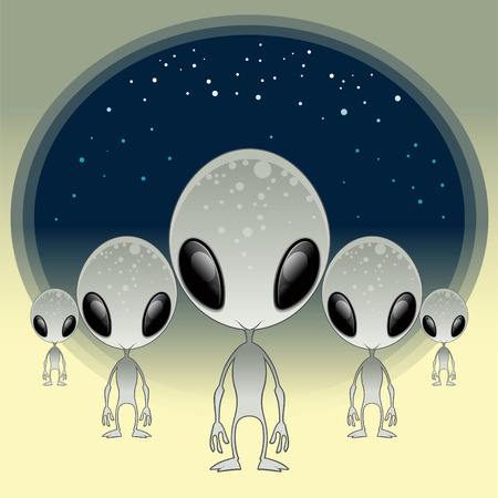 kidnapping: Greys - UFO, cartoon and vector illustration