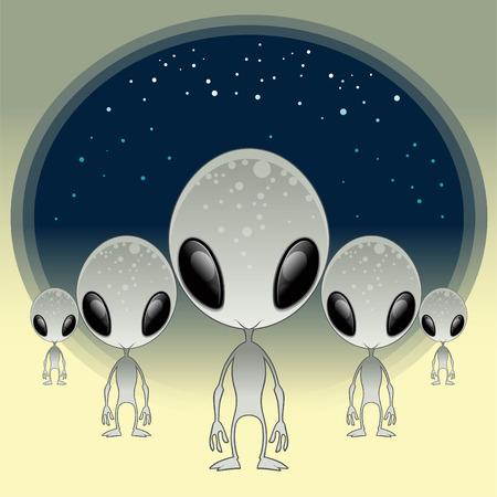 Ilustración de dibujos animados y vector de grises - UFO,