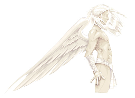 is masculine: Cupid or masculine Angel, vector character Illustration