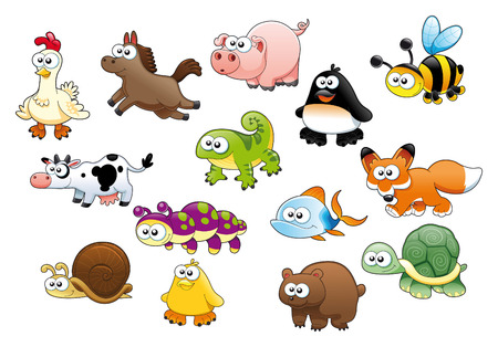 Cartoon animals and pets, vector characters Vector