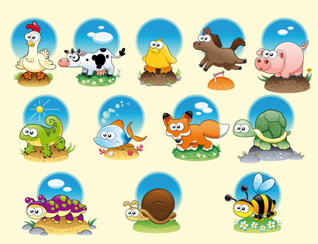Cartoon animals and pets with background, vector characters Vector