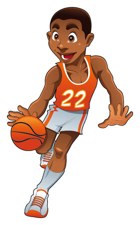 quickness: Basket boy, cartoon and vector character Illustration