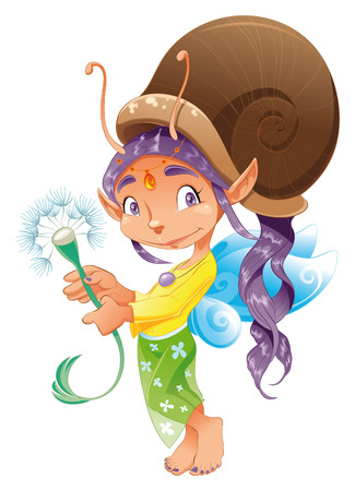 adolescent: Snail Fairy, cartoon and vector character Illustration