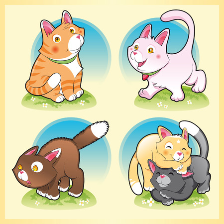 tenderly: Family of cats, cartoon and vector illustration