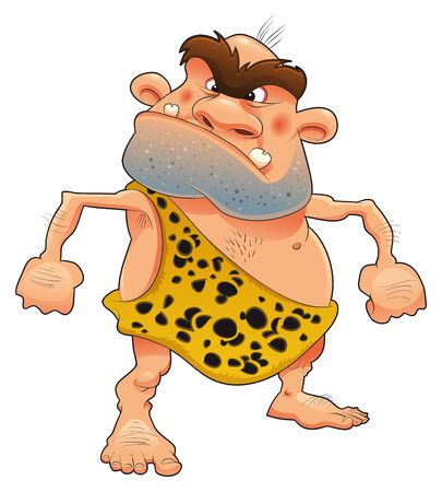 Funny cave-dweller, cartoon and vector character