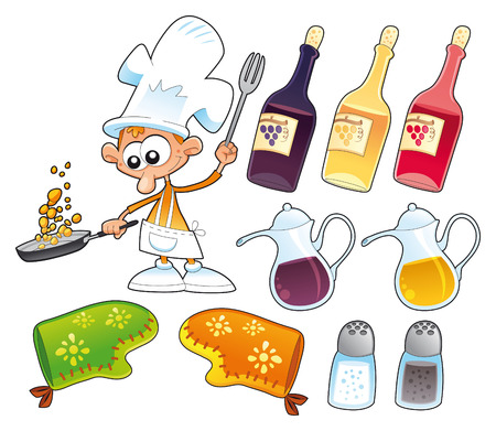 prescription bottles: Cook and kitchen objects, cartoon and vector illustration
