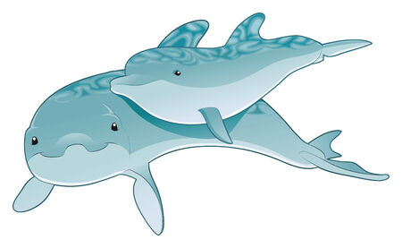 Dolphin - mother and son. Vector animals Vector