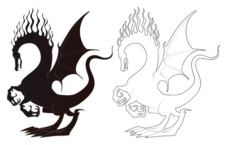 Black and white dragons. Vector illustration Vector