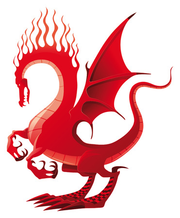 tatouage dragon: Dragon rouge, illustration vectorielle