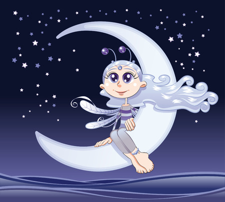 man in the moon: Fairy moon, cartoon and vector illustration Illustration
