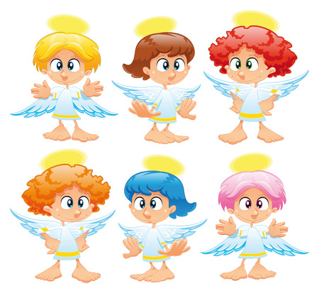 halo: Family of angels, cartoon and vector characters Illustration