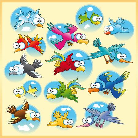 Familia de aves con el fondo, la historieta y el vector de caracteres Ilustración de vector