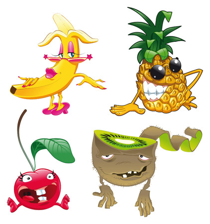 Family of fruit, vector and cartoon characters Vector