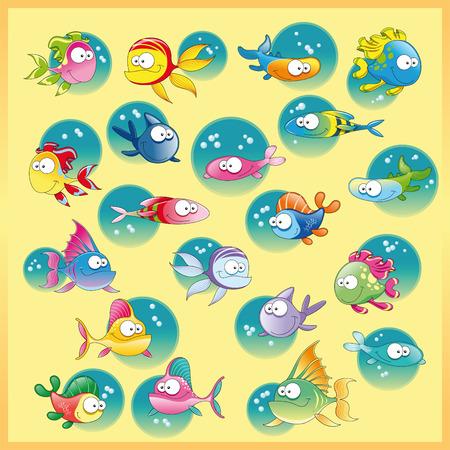 Familia de peces con el fondo, el vector y la ilustraci�n de dibujos animados Foto de archivo - 5516475