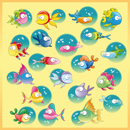 Family of fish with background, vector and cartoon illustration Vector