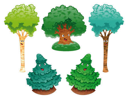 chlorophyll: Family of trees, vector and cartoon characters