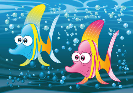 animal idiot: Couple of fish in the ocean, vector and cartoon illustration