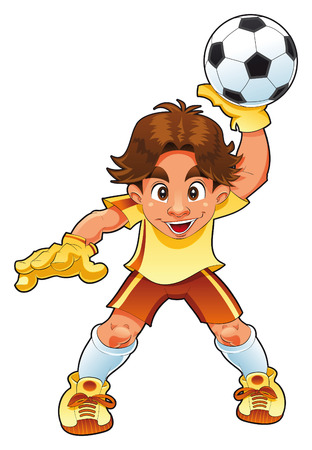 cute cartoon boy: Young Goalkeeper, vector and cartoon character Illustration