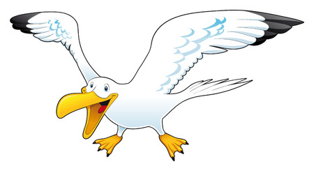 plumed: Cartoon gull, vector character Illustration