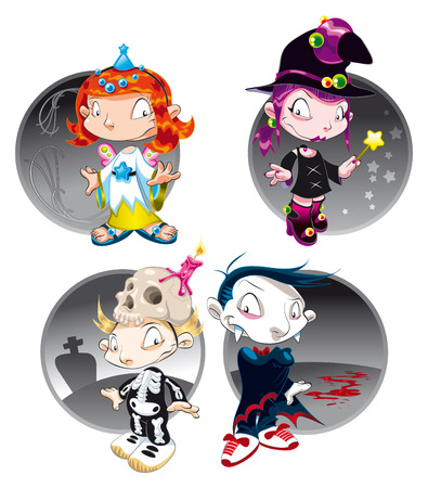 Halloween Characters, vector and cartoon illustration Vector