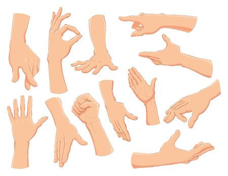 Hands, vector and cartoon illustration Stock Vector - 5516460