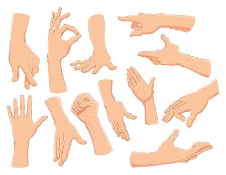Hands, vector and cartoon illustration 矢量图片