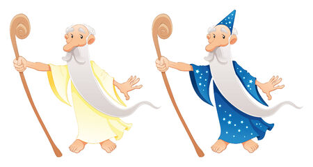Two types of wizard, cartoon and vector characters