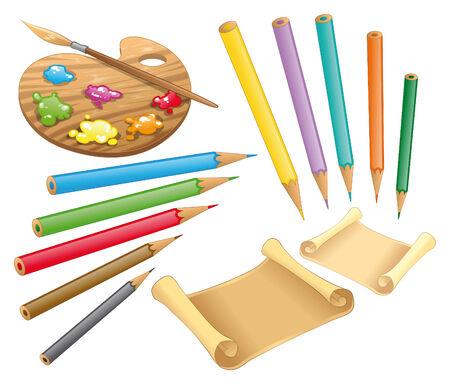 vellum: Tavolozza, pastelli e carta. Oggetti di cartone animato e vettoriale  Vettoriali