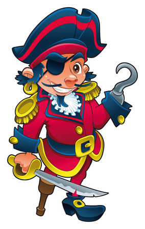 Funny pirate, cartoon and vector character Vector