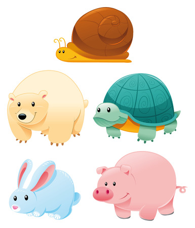 Funny animals, cartoon and vector characters Vector