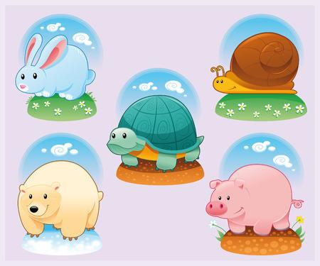 tenderly: Animali divertenti con sfondo, cartoni animati e vettoriale illustrazione  Vettoriali