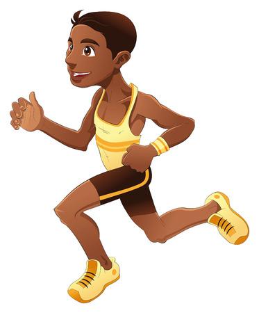 Runner boy, cartoon and vector sport character Stock Vector - 5516532