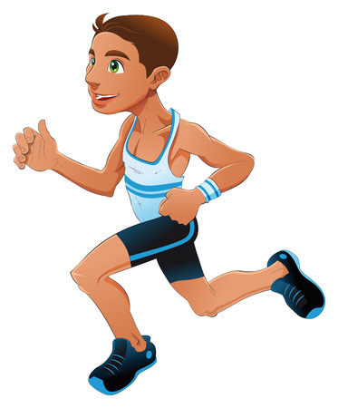 Runner boy, cartoon and vector sport character