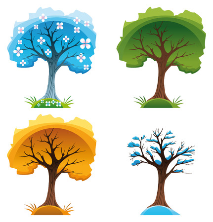 Season trees. Cartoon and vector illustration Stock Vector - 5516526