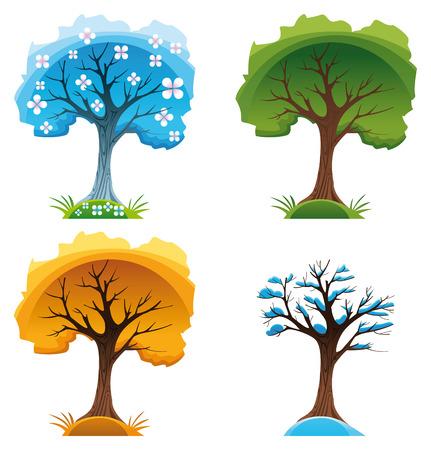 season: Season trees. Cartoon and vector illustration