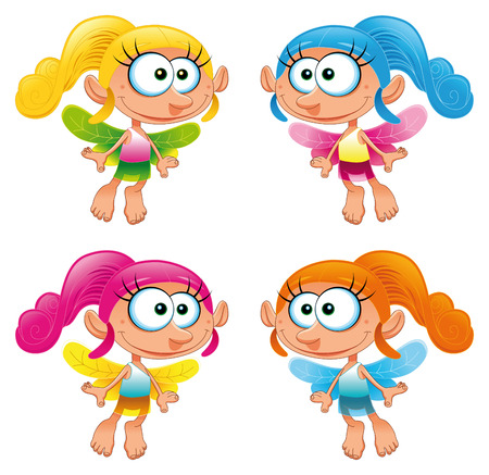 Set of funny Fairy. Cartoon and vector characters Stock Vector - 5516527