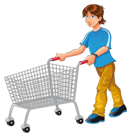 Shopping trolley, vector and cartoon character Vector