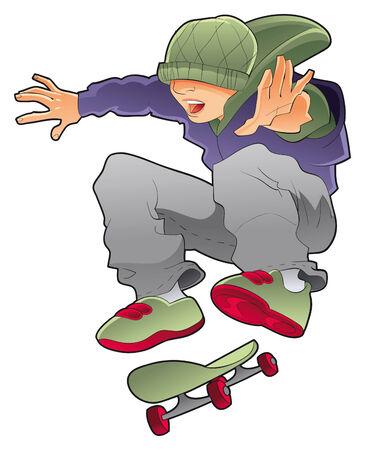 patinador chico, personaje de vector