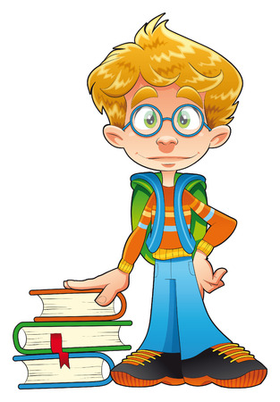 teachings: Young student, vector and cartoon character