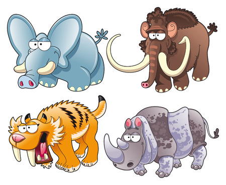 prehistoric animals, cartoon and vector characters Vector