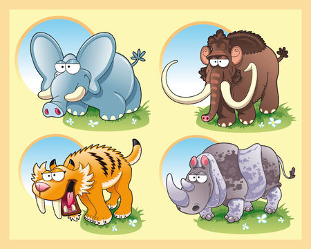 family history: Prehistoric animals with background, cartoon and vector illustration