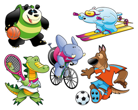 Sport and Animal, , cartoon and vector characters