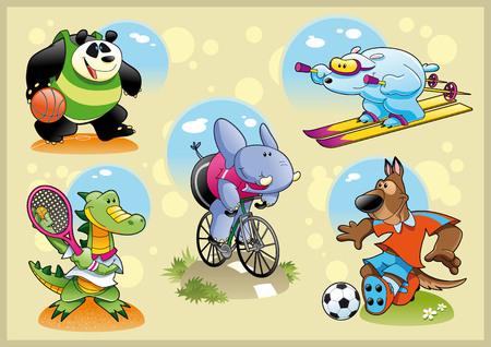 Sport et des animaux avec un fond, bande dessinée et illustration vectorielle